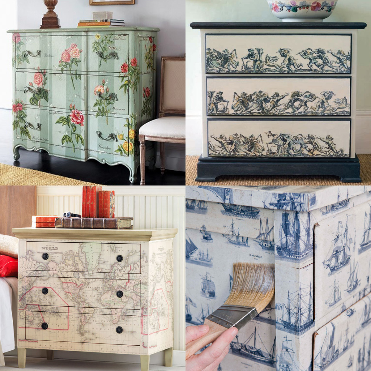 Mod podge furniture decoupaged on pinterest decoupage - Decoupage mobili ...