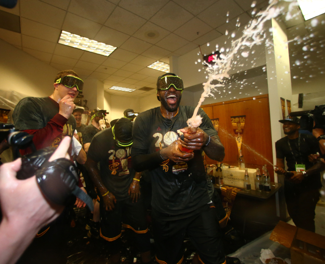 OAKLAND, CA - JUNE 19: LeBron James #23 of the Cleveland Cavaliers celebrates after winning Game Seven of the 2016 NBA Finals against the Golden State Warriors on June 19, 2016 at Oracle Arena in Oakland, California. NOTE TO USER: User expressly acknowledges and agrees that, by downloading and or using this photograph, user is consenting to the terms and conditions of Getty Images License Agreement. Mandatory Copyright Notice: Copyright 2016 NBAE (Photo by Nathaniel S. Butler/NBAE via Getty Images)