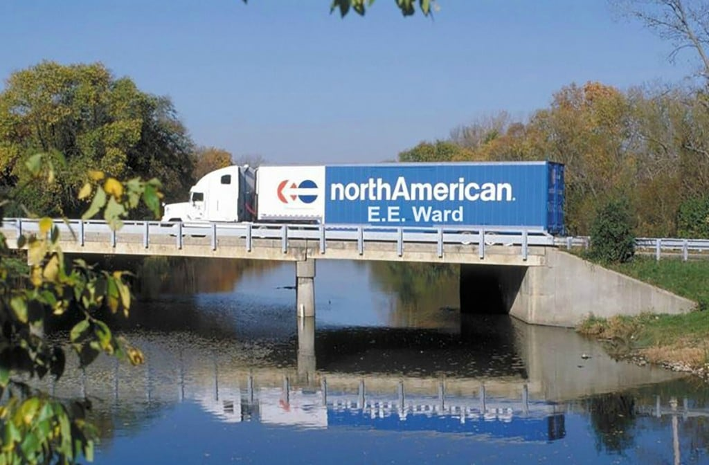 EE Ward truck crossing bridge
