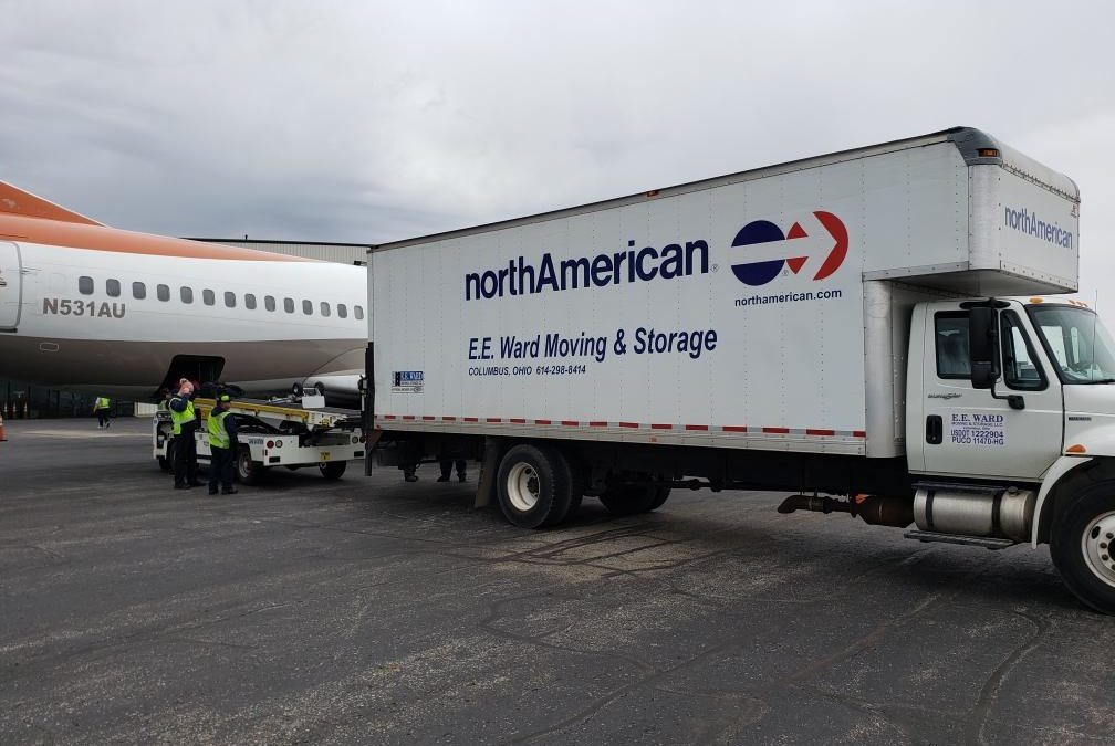 EE Ward truck loading onto a jet