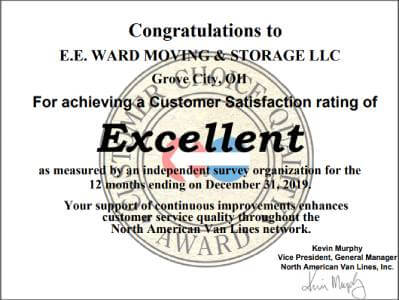 E.E. Ward is Rated 'Excellent' Among Movers